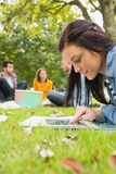 Female using tablet PC while others using laptop in park. Young female using tablet PC while other students using laptop in background at the park Stock Image