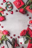 Female Valentines day or Dating accessories and Love symbol in red color: shoes,bracelets, gift,Jewelry, roses flowers, candles, c Stock Image