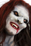 Female vampire like creature. Close up of the face of a female vampire like creature isolated on a white background Stock Photos