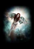 Female vampire like creature flying stock photography
