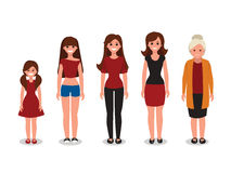 Female various ages cartoon vector illustration Royalty Free Stock Image