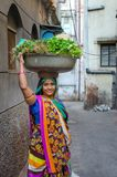 Female Vegetable Vendor in India Royalty Free Stock Photos