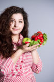 Female vegetarian with vegetables Royalty Free Stock Image