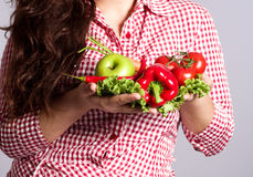 Female vegetarian with vegetables Stock Photos