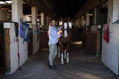 Female vet examining horse at stable Royalty Free Stock Photo