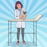Female Vet Examining Pug Dog. Pet Care. Pop Art illustration Royalty Free Stock Photos