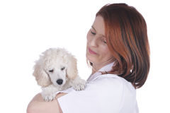 Female vet with poodle puppy Royalty Free Stock Photography