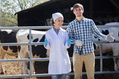 Female veterinarian and farmer in the cowshed. Young female veterinarian dressed in the white coat standing with male farm worker in the cowshed Stock Photo