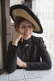 Female in Victorian Dress, Reenactor Durango and Silverton Narrow Gauge Railroad, Colorado, USA Stock Photography