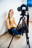 Female video blogger. Making video at home Royalty Free Stock Photography