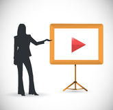 Female video presentation illustration. Design over a white background Stock Images