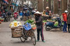 A female vietnamese street vendor with old bicycle and fruits on the bamboo baskets on Lao Kai street, Vietnam-China border.  stock photo
