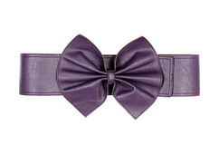 Female violet belt with bow-knot isolated on a white background Stock Photos