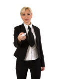 Female with visiting card. Royalty Free Stock Photos