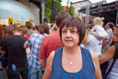 Female visitor of concert Stock Photography