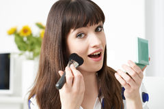 Female Vlogger Presenting Make Up Tutorial Video Stock Image