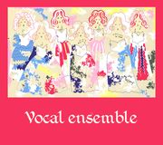 Female vocal ensemble. Cute cartoon poster.  Royalty Free Stock Image