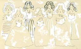 Female vocal ensemble. Cute cartoon poster Royalty Free Stock Photos