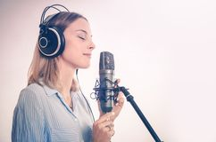 Female Vocal Recording Royalty Free Stock Image