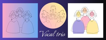 Female vocal trio. Cute cartoon vector image. Set of illustrations Royalty Free Stock Images