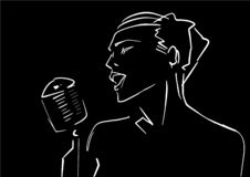 Female vocalist contour with microphone. stock illustration