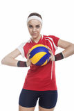 Female Volleyball Player Equipped in Professional Sport Outfit Stock Images
