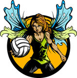 Female Volleyball Player with Fairy Wings Royalty Free Stock Images