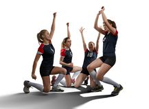 Female volleyball team isolated on white Royalty Free Stock Image