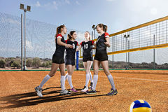 Female volleyball team celebrating victory Stock Photography