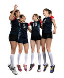 Female volleyball team isolated on white Stock Photography