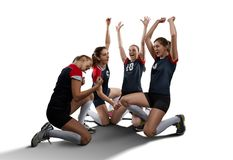 Female volleyball team isolated on white Stock Image