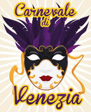 Female Volto Mask with Feathers to Celebrate Carnival of Venice, Vector Illustration. Poster with beautiful female volto mask with feathers in the top side and Stock Image