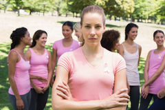 Female volunteer at breast cancer campaign Royalty Free Stock Image
