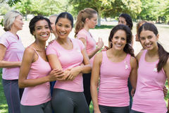 Female volunteers participating in breast cancer awareness Royalty Free Stock Photo