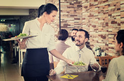 Female waiter bringing order to visitors in country restaurant Royalty Free Stock Photography
