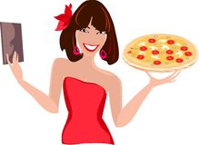 Female waiter with pizza Royalty Free Stock Images