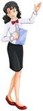 A female waiting staff stock illustration