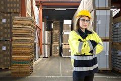 Female warehouse employee Royalty Free Stock Photography