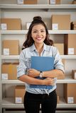 Female warehouse worker royalty free stock images