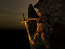 Female warrior. 3d render of female warrior with fire tattoo standing gaurd Royalty Free Stock Photo
