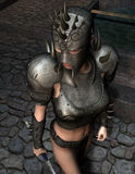 Female warrior in armor. 3D rendering of a female warrior in armor Royalty Free Stock Images