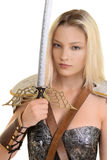 Female warrior holding sword Stock Images