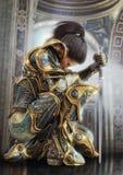 Female warrior knight kneeling proudly wearing decorative ornamental armor. 3d rendering vector illustration