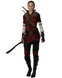 Female Warrior in Leather Armour. Lightly armoured female warrior in leather armour carrying a sword, 3d digitally rendered illustration Stock Photography