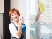 Female washing window Royalty Free Stock Image
