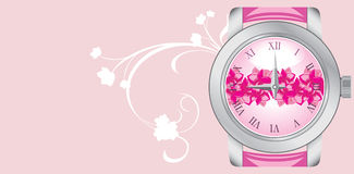 Female watch on the pink background. Banner Royalty Free Stock Photo