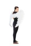 Female wearing angel wings Royalty Free Stock Photos