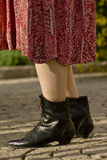Female wearing ankle boots Stock Images
