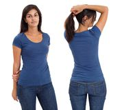 Female wearing blank blue shirt royalty free stock photography