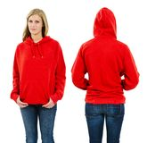 Female wearing blank red hoodie Royalty Free Stock Photo